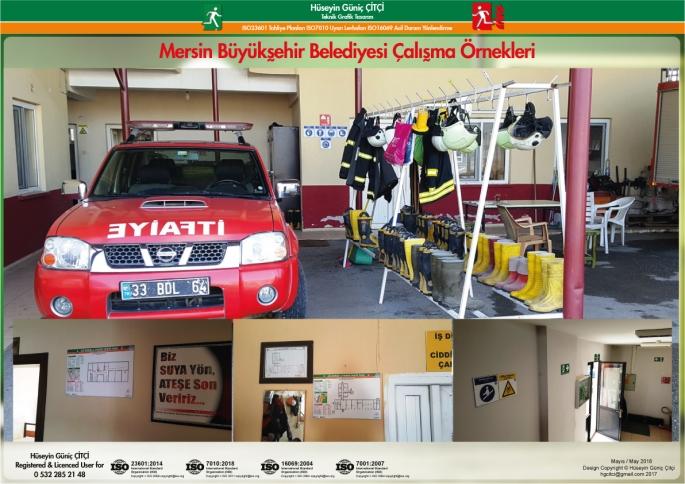 Mersin Büyükşehir Belediyesi İtfaiye Daire Başkanlığı ISO 23601 Acil Durum ve Yangın Tahliye Planları, ISO 7010 Uyarı Levhaları