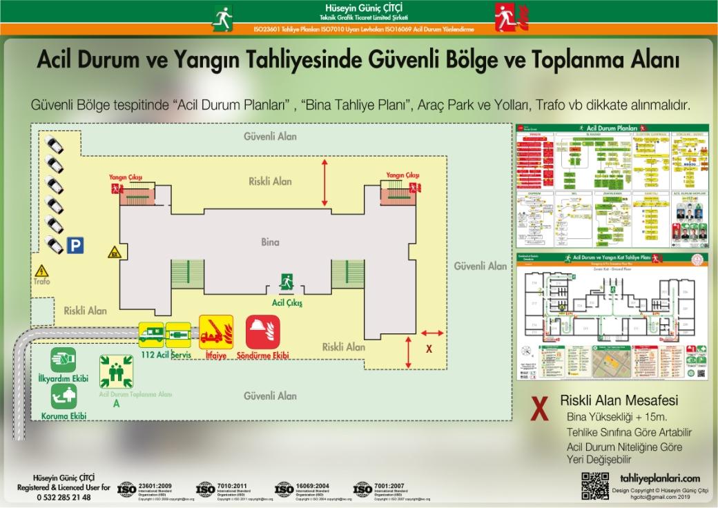 Toplanma Alani ISO 23601 Acil Durum ve Yangın Tahliye Kat Planları