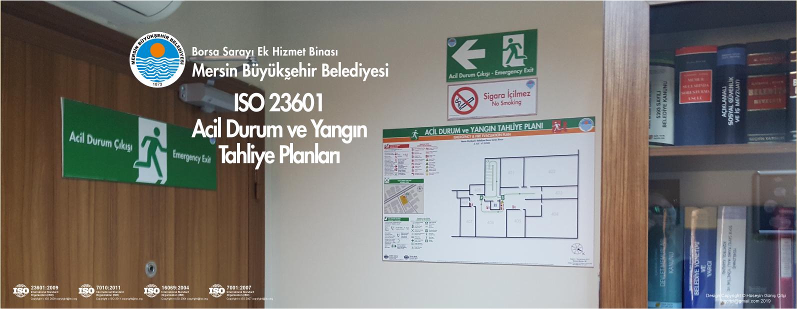 Borsa Sarayı Hizmet Binası Mersin Büyükşehir Belediyesi ISO 23601 Acil Durum Ve Yangın Tahliye Kat Planları