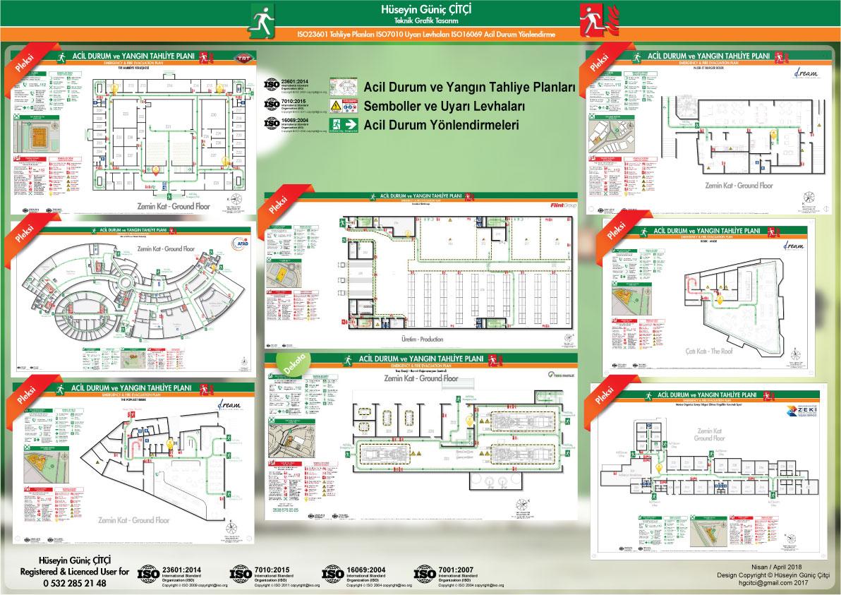 ISO 23601 Acil Durum ve Yangın Tahliye Planları ISO 7010 Uyarı Levhaları ISO 16069 Acil Durum Yönlendirmeleri 001