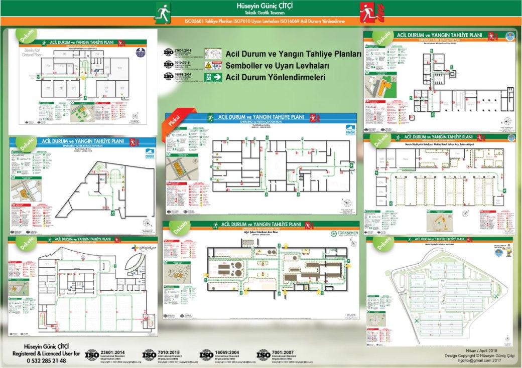 ISO 23601 Acil Durum ve Yangın Tahliye Planları ISO 7010 Uyarı Levhaları ISO 16069 Acil Durum Yönlendirmeleri 002