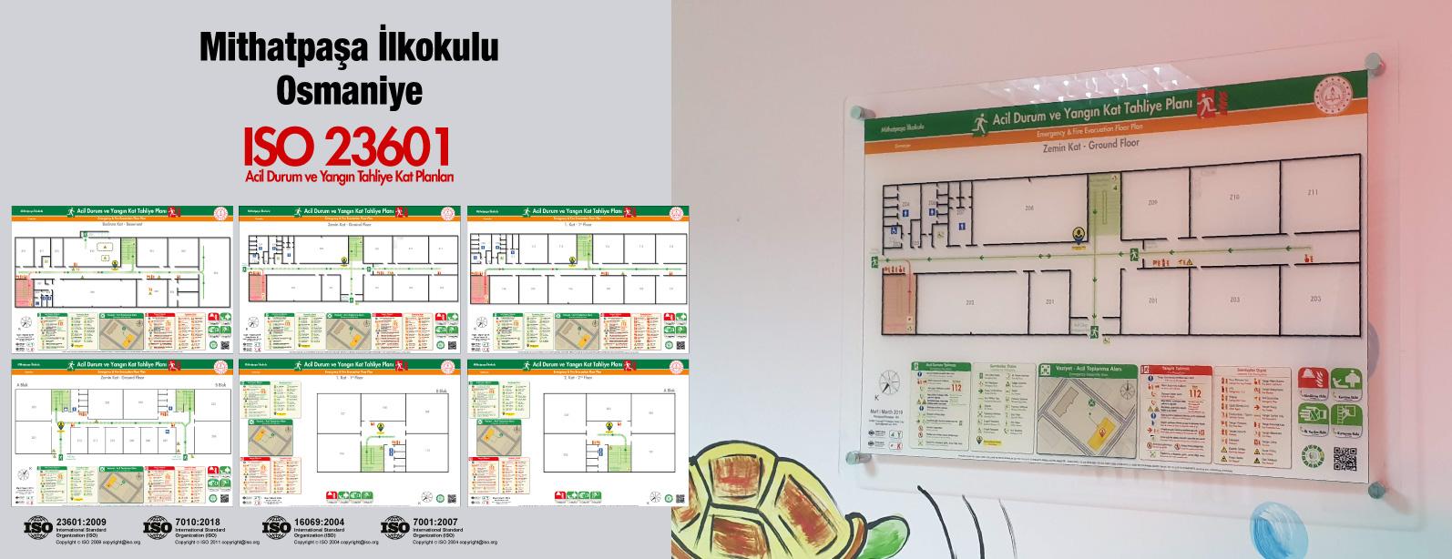 osmaniye-mithatpasa-ilkokulu ISO23601 Acil Durum ve Yangin Tahliye Kat Plani Pleksi
