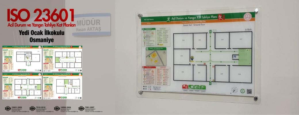 osmaniye-yedi-ocak-ilkokulu ISO23601 Acil Durum ve Yangin Tahliye Kat Plani Pleksi