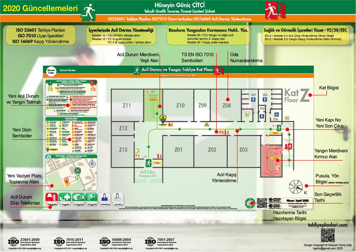2020 Güncelleme ISO 23601 Acil Durum ve Yangın Tahliye Planları Kat Tahliye Plani Unsurlari 04