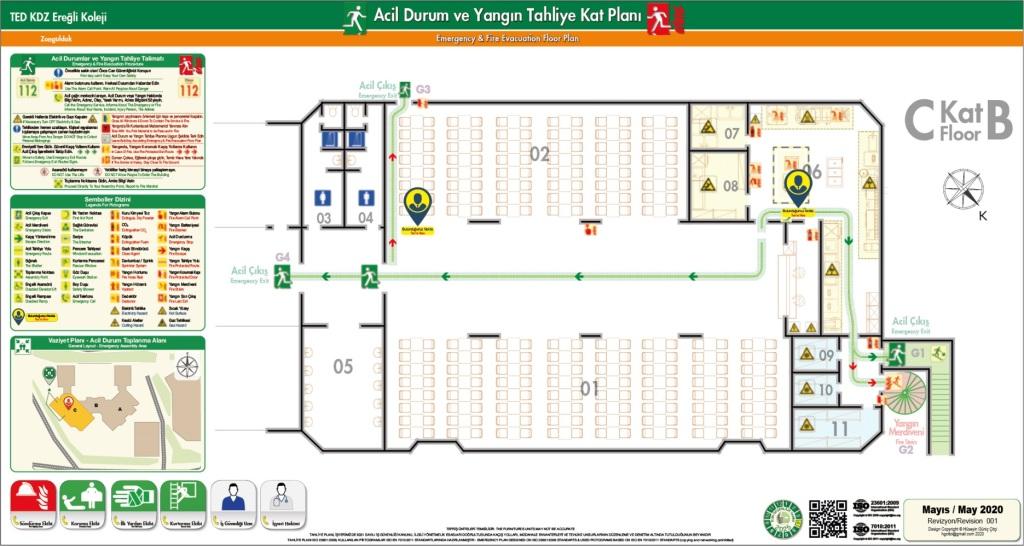 ISO 23601 Acil Durum ve Yangin Tahliye Kat Plani